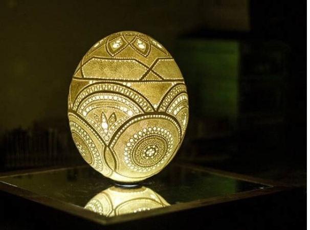 A masterpiece of art with 45,000 fine holes on an ostrich egg