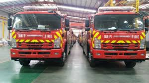 Flag march of fire tenders and bowlers invited from China in Karachi
