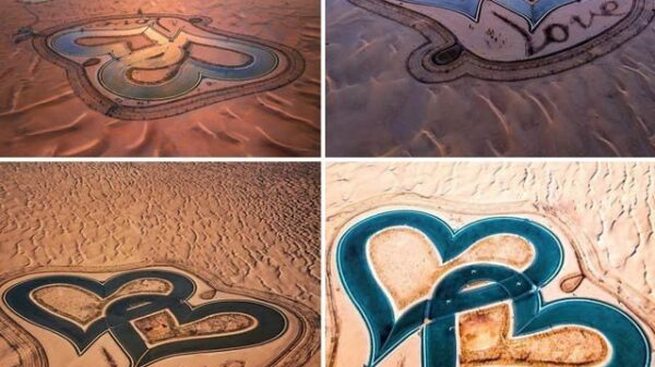 Like two hearts in the desert, 'Lake Ulfat' can be seen from space