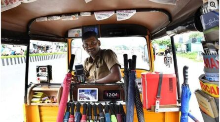 Rickshaw equipped with refrigerator, iPad, television and magazine facilities